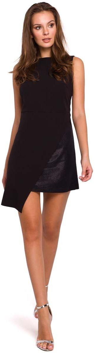 Czarna wieczorowa asymetryczna sukienka mini
