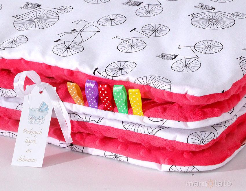 MAMO-TATO Komplet kocyk Minky do wózka + poduszka Rowery / arbuzowy - letni
