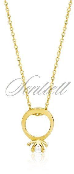 Srebrny naszyjnik pr.925 z zawieszką pierścionkiem - pozłacany - żółte złoto