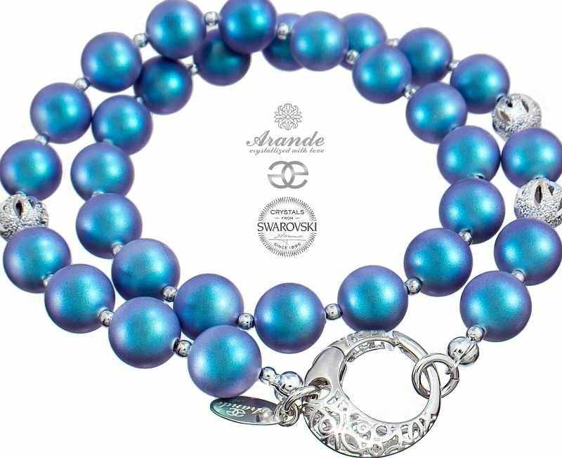Kryształy ozdobny naszyjnik PERŁY LIGHT BLUE FANTASIA SREBRO