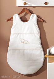 MAMO-TATO Śpiworek niemowlęcy haftowany Śpiący miś ecru