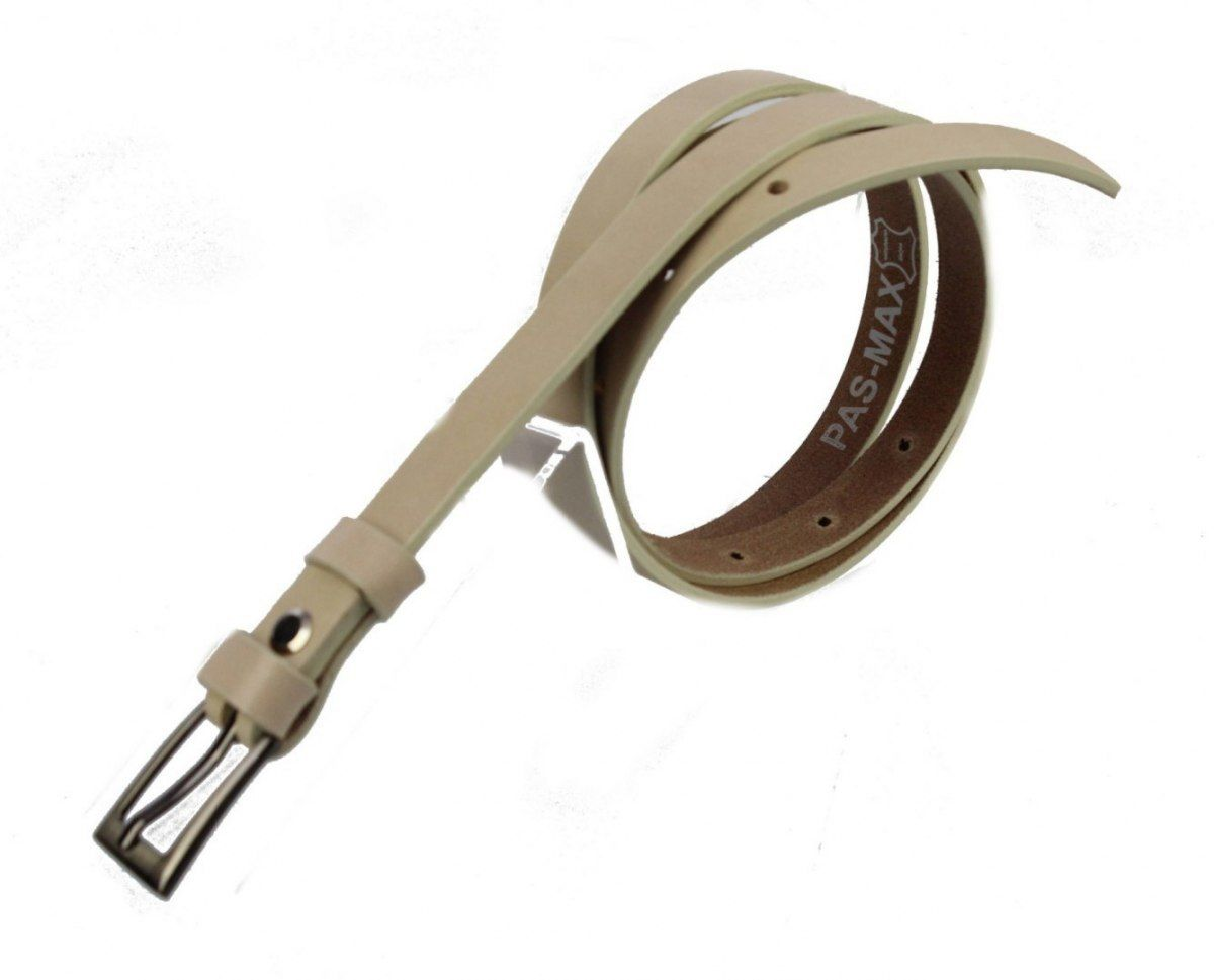 Pasek Damski Skórzany PAS-MAX (PL) 15 mm KREMOWY
