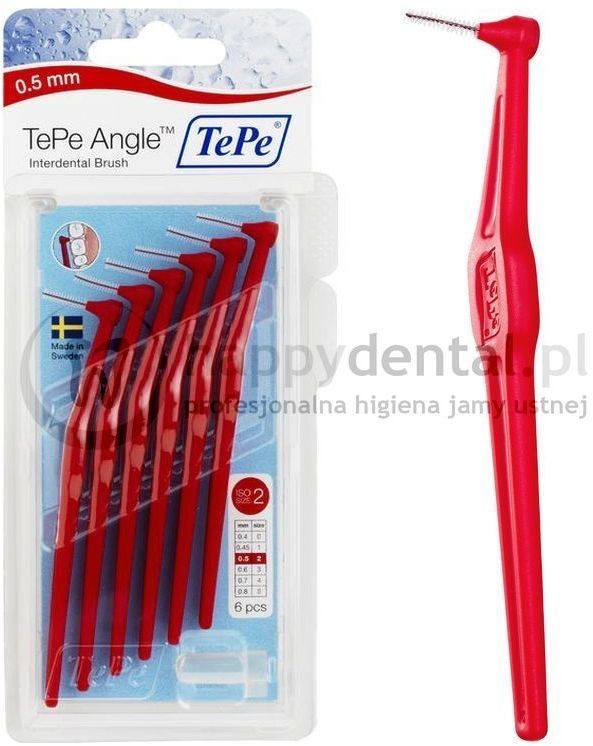 TEPE ID Angle (0.5mm) czerwone 6szt. - zestaw szczoteczek międzyzębowych (szczoteczki w wersji ANGLE)