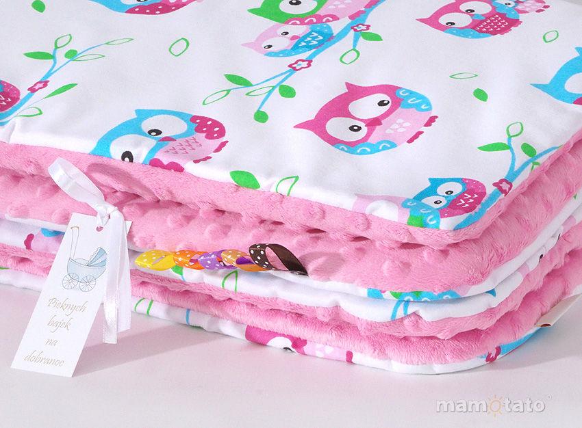 MAMO-TATO Komplet kocyk Minky do wózka + poduszka Sówki białe / róż - ocieplony