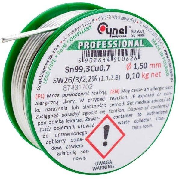 Spoiwo lutownicze bezołowiowe Cynel 1,5 mm 100 g