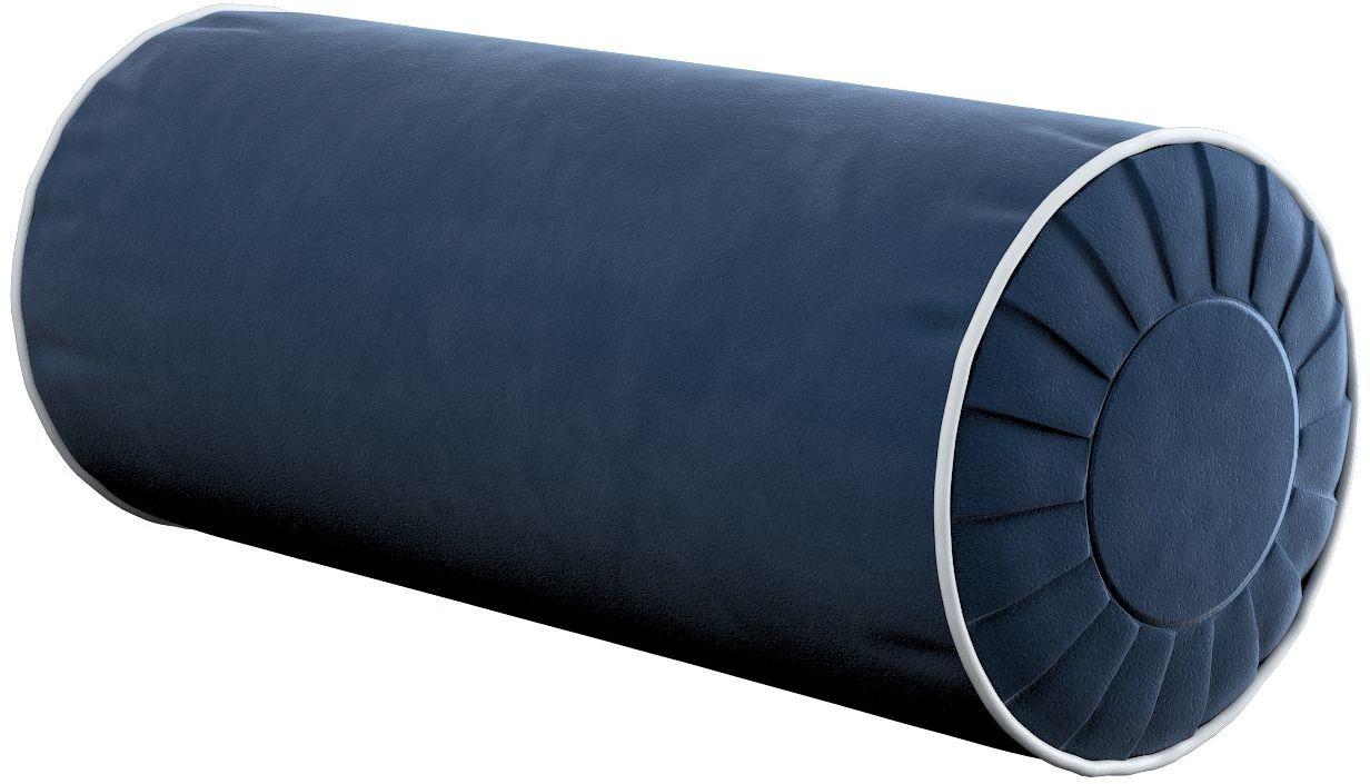 Poduszka wałek z zakładkami z lamówką, granat, Ø20  50 cm, Velvet