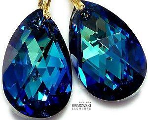 NOWOŚĆ! Kryształy kolczyki ZŁOTE SREBRO BERMUDA 28