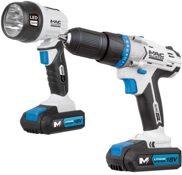 Wiertarko-wkrętarka akumulatorowa z udarem MacAllister 18 V z latarką
