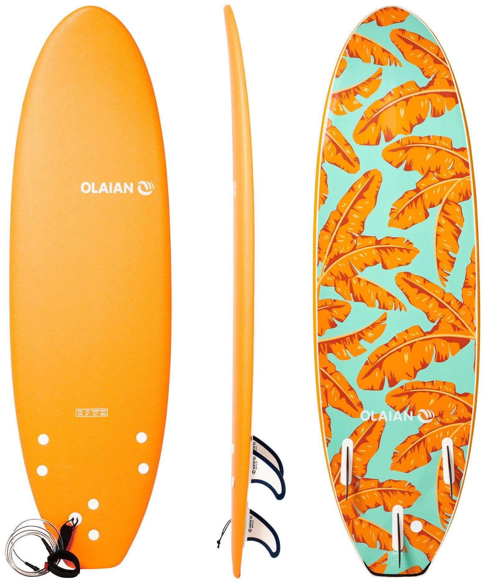 Deska surfingowa z pianki 500 6'' z leashem i 3 statecznikami
