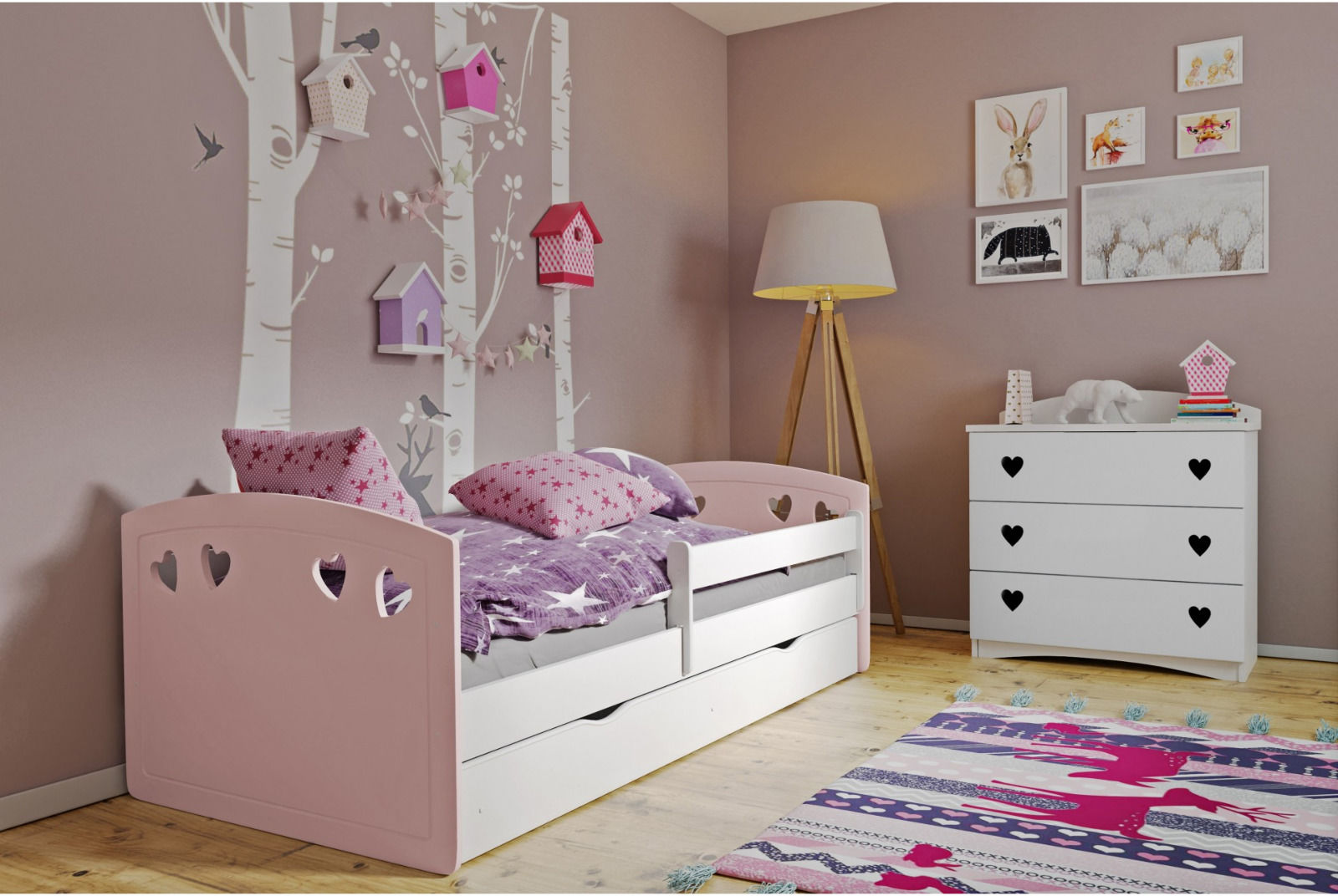 Łóżko dziecięce JULIA MIX 180x80 różowe