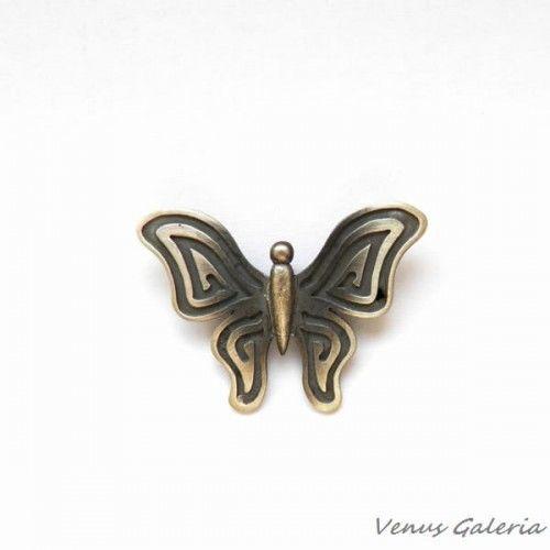 Wisiorek srebrny - Szary motylek