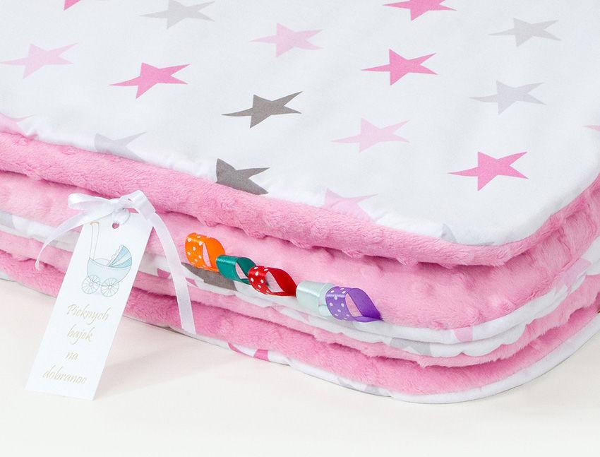 MAMO-TATO Komplet kocyk Minky do wózka + poduszka Gwiazdki szare i różowe D / róż - letni