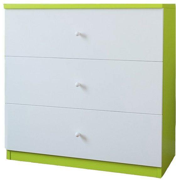 Komoda dziecięca z szufladami Happy 10X - biało - zielona