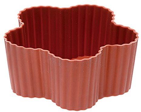 Rosenthal - Sambonet - 6 foremek do babeczek, muffinek - silikon - czerwony - kwiat - Ø 7 x wys. 3 cm