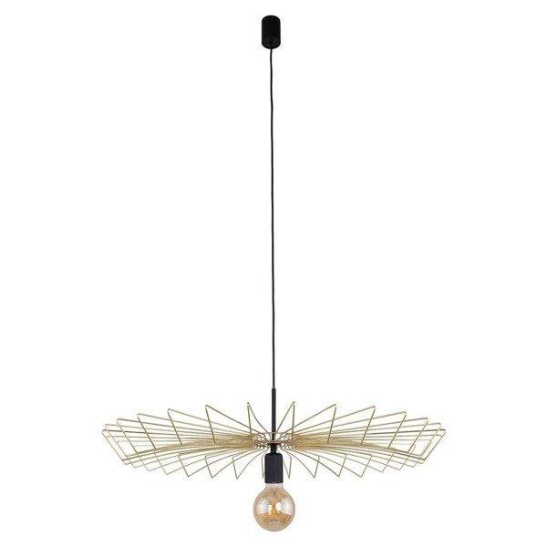 Lampa wisząca druciana zwis nowoczesna UMBRELLA złoty/czarny śr. 78cm - złoty
