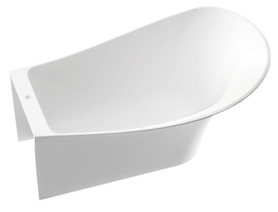 Marmorin Misa wanna przyścienna z przelewem prawa 155x92 cm biała 634155920210