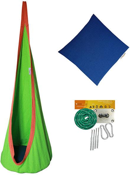 Fotel hamakowy dla dzieci + zestaw montażowy z poduszką, zielony FHD-B
