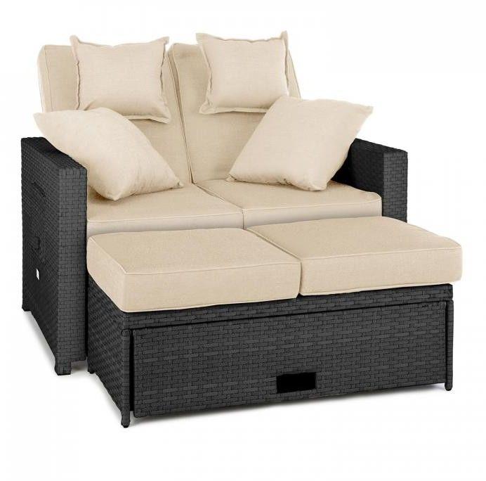 Blumfeldt Komfortzone sofa wypoczynkowa 2-osobowa technorattan składane stoliki szara
