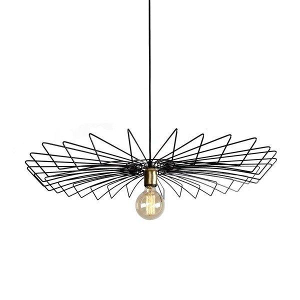 Lampa wisząca druciana zwis nowoczesna UMBRELLA czarny śr. 78cm - Czarny