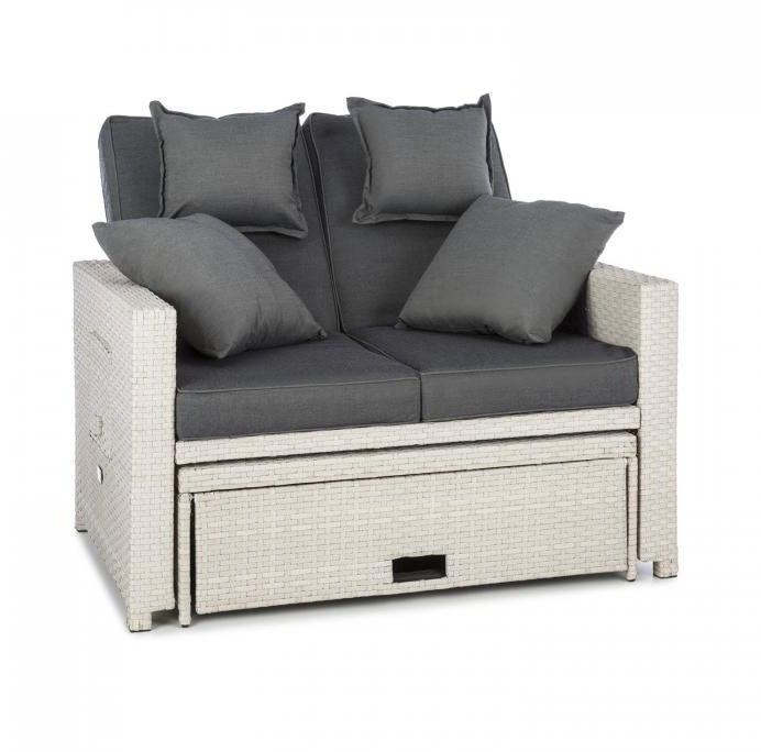 Blumfeldt Komfortzone sofa wypoczynkowa 2-osobowa technorattan składane stoliki biała