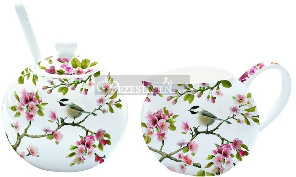 KOMPLET - PORCELANOWA CUKIERNICA I MLECZNIK Blossom (317 BLOS)