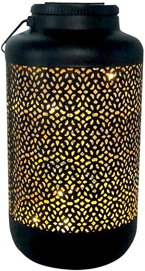 Orientalna latarnia, czarna i złota, mikro LED, ciepła biel, wys. 36 cm