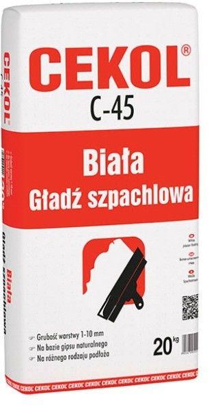 Biała gładź szpachlowa Cekol C-45 20 kg
