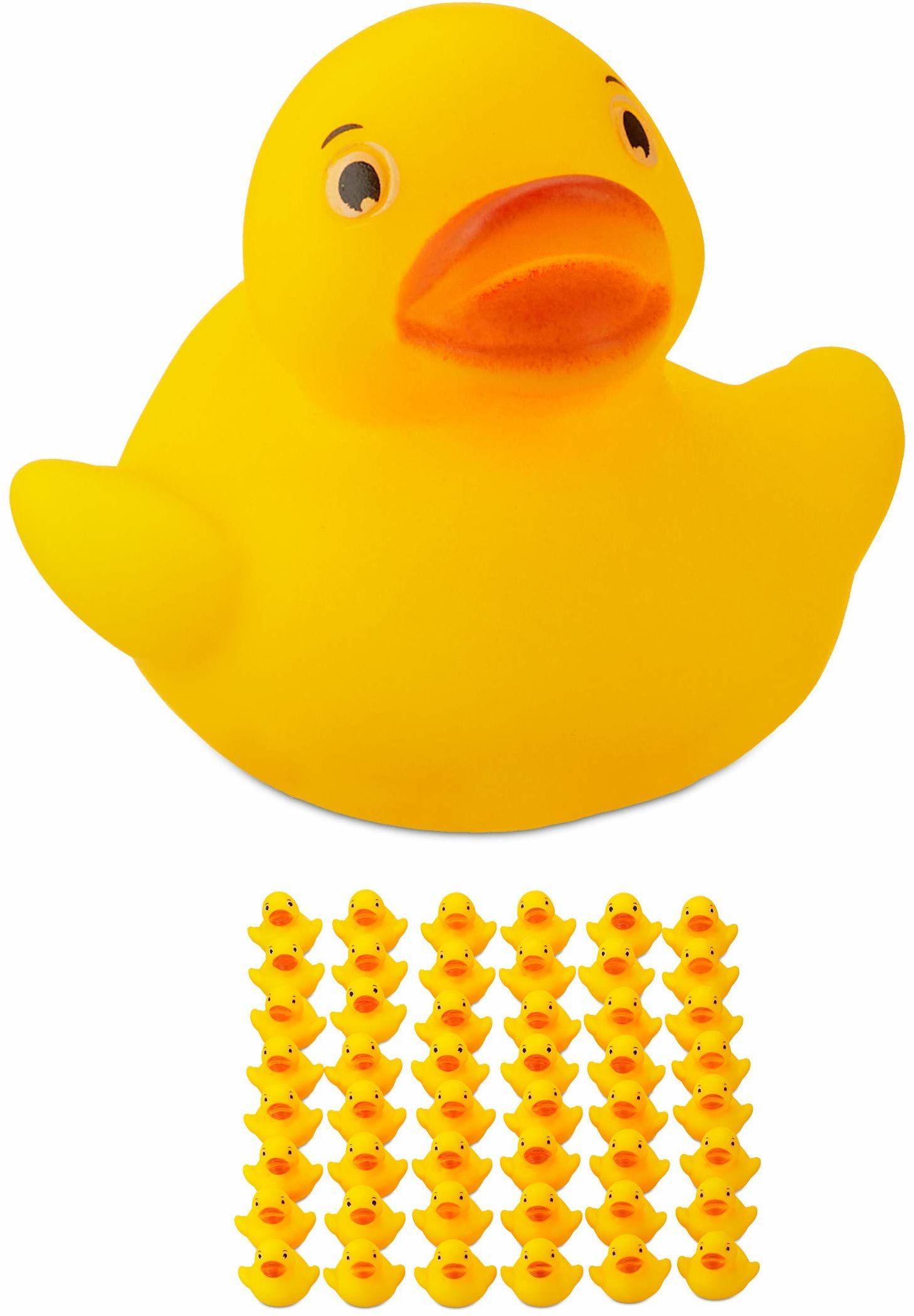 Relaxdays Kaczka kąpielowa, 3,5 cm, zestaw 48 sztuk, piszcząca kaczka do wanny, zabawy i dekoracji, prezent na urodziny dziecka, żółta