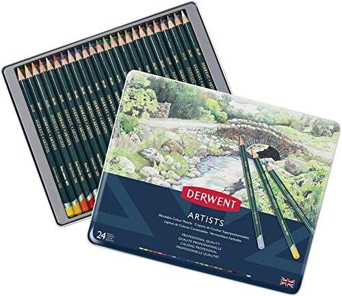 Derwent, 24 Kredki Derwent Artists do Rysowania i Kolorowania, Metalowe Pudełko (32093)
