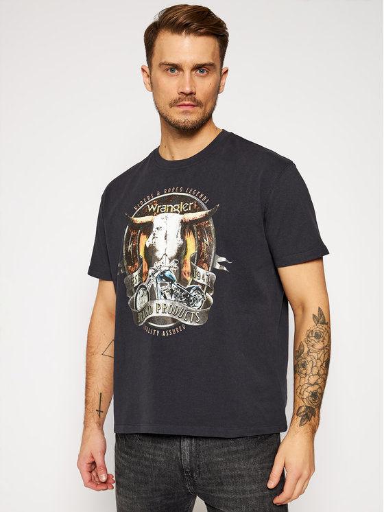 Wrangler T-Shirt Bull W7ADGFXV6 Czarny Regular Fit
