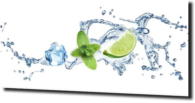 obraz na szkle Limonki mięta woda