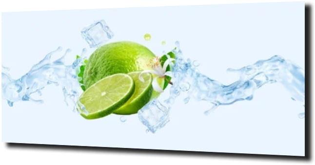obraz na szkle Limonka, woda, lód