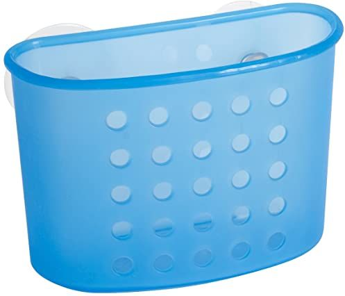 Home kosz do przechowywania z przyssawkami, 10 x 15 cm, tworzywo sztuczne, niebieski