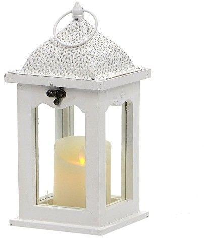 Lampion Drewniany z metalowym daszkiem wys. 30 cm