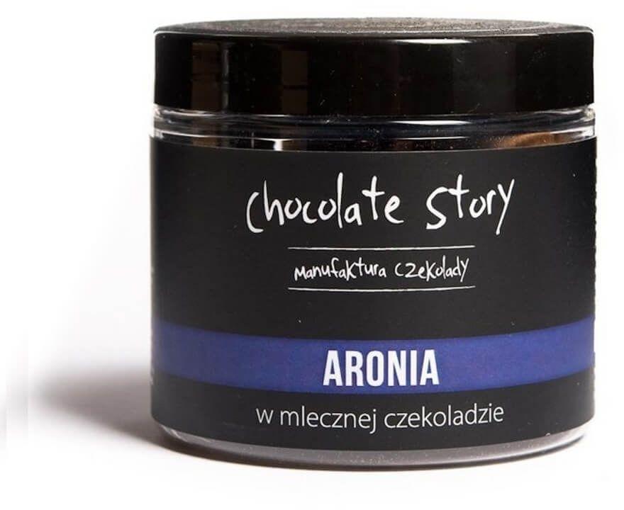 Aronia w czekoladzie - owocowa przekąska w mlecznej czekoladzie 120g, 100% naturalnych składników, draże na bazie czekolady rzemieślniczej