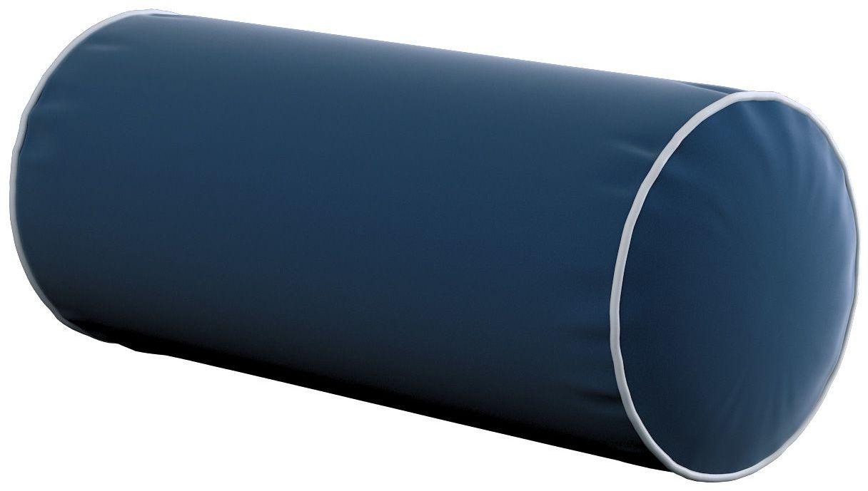 Poduszka wałek prosty z lamówką, granat, Ø16  40 cm, Velvet