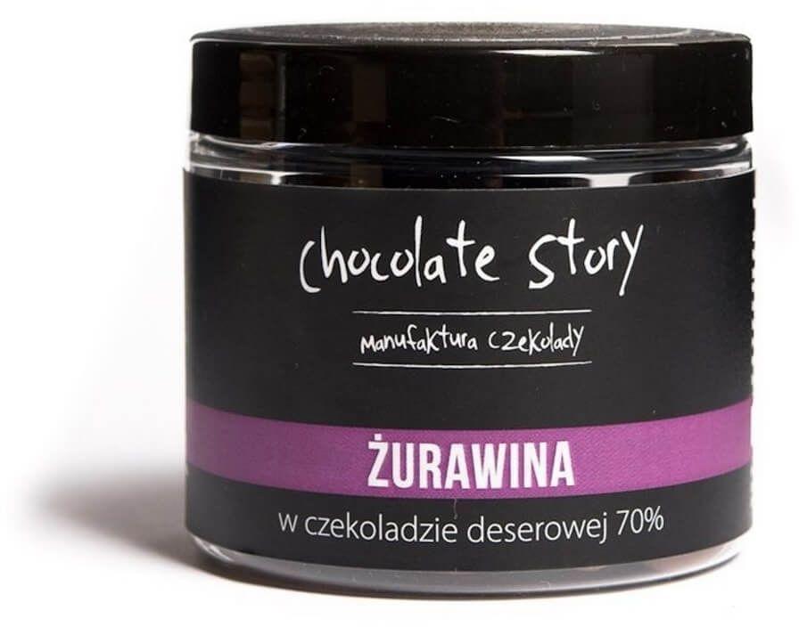 Żurawina w czekoladzie - owocowa przekąska w czekoladzie deserowej 120g, 100% naturalnych składników, draże na bazie czekolady rzemieślniczej