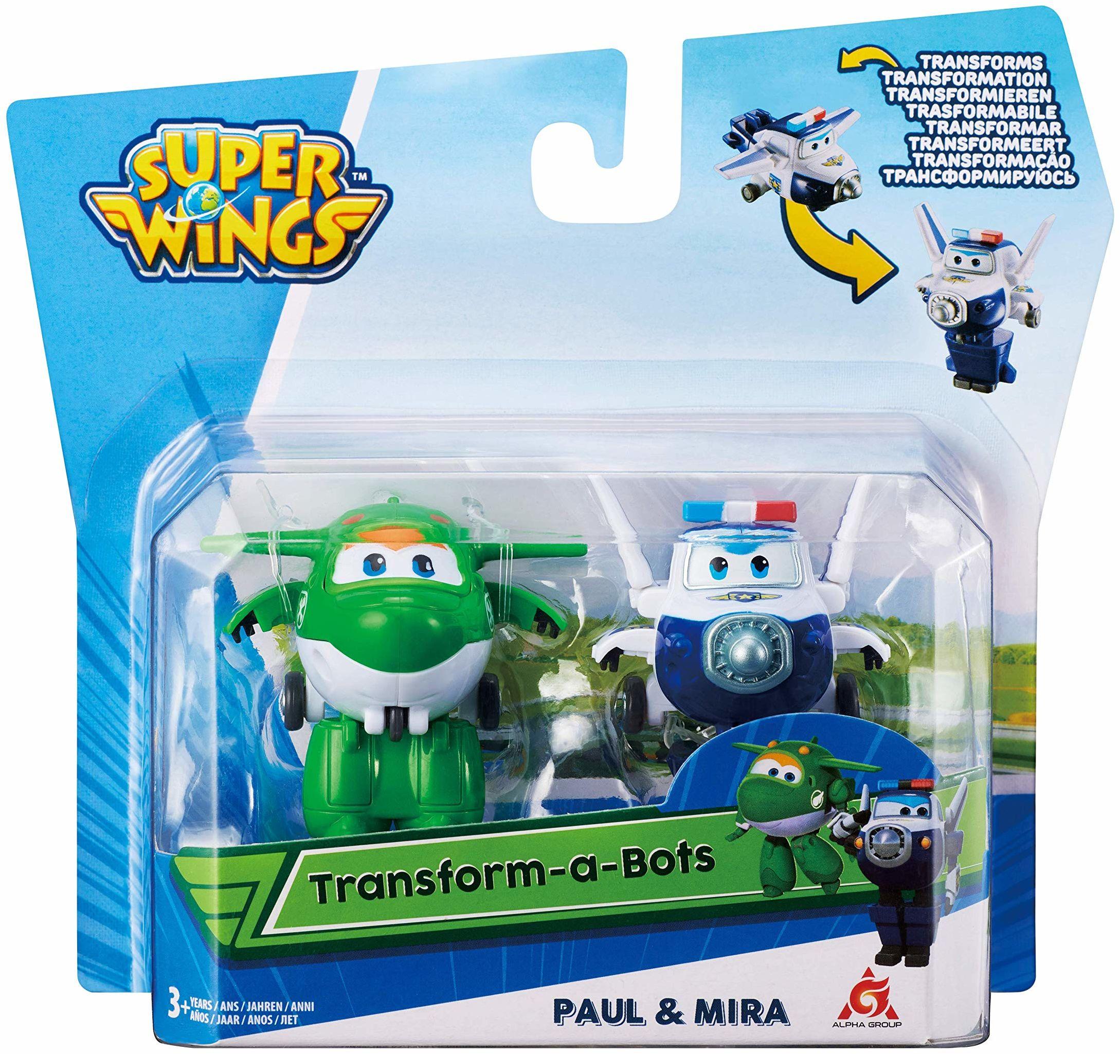 Super Wings EU720030G Mira & Pau EU720030G transform-a-Bots 2pk-Mira & Paul, zielony/niebieski