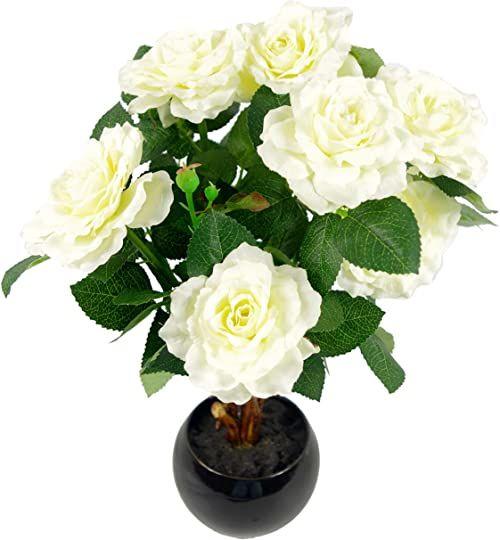 Leaf 42 cm sztuczna róża roślina z ceramiczną doniczką średnie światło, kość słoniowa/kremowa