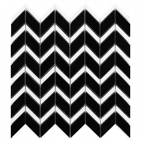 DUNIN B&W Black & White mozaika kamienna Pure Black Chevron MIX