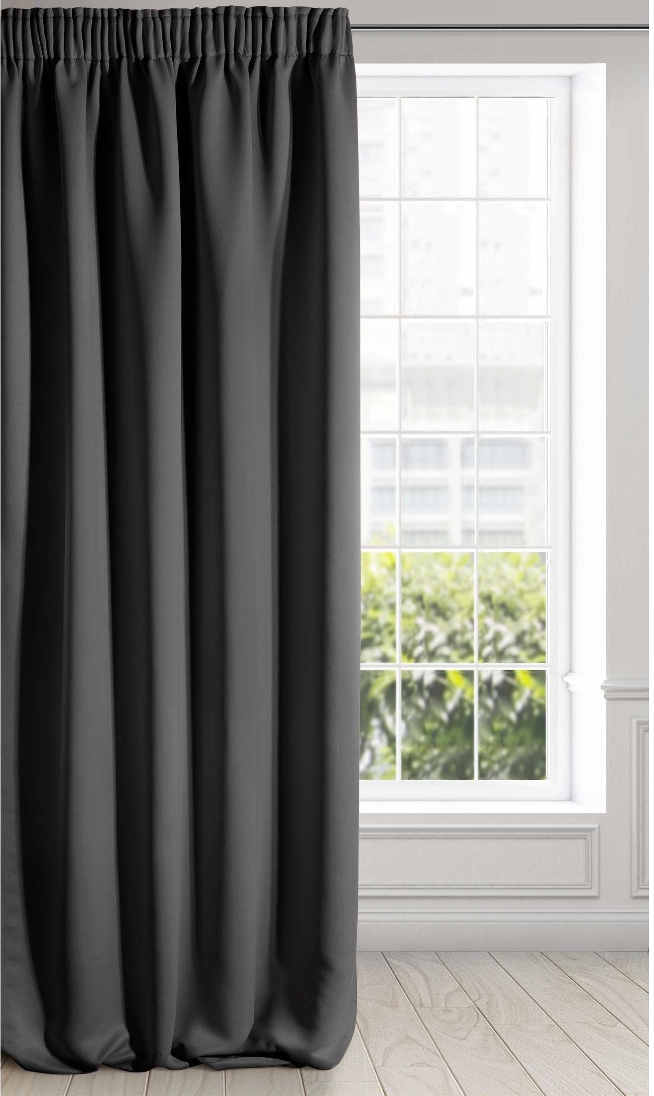 Eurofirany Logan zaciemniająca zasłona nieprzejrzysta, satynowa taśma marszcząca firanka jednokolorowa 1 szt. nowoczesny salon sypialnia pokój dziecięcy czarny, 135 x 270 cm