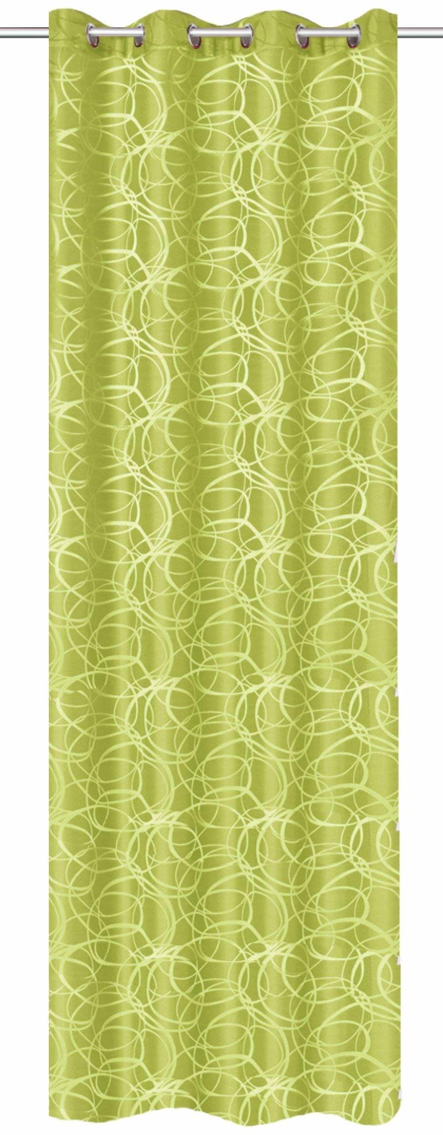 Home fashion Zasłona z oczkami tkanina dekoracyjna wzór żakardowy, poliester, zielona, 245 x 140 cm