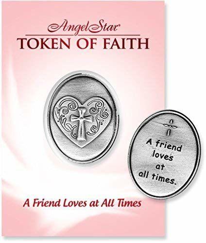 Angelstar Token of Faith, 1  1/4 cala z 1, serce i krzyżyk na przedniej stronie, czytaj przyjaciela w każdej chwili z tyłu