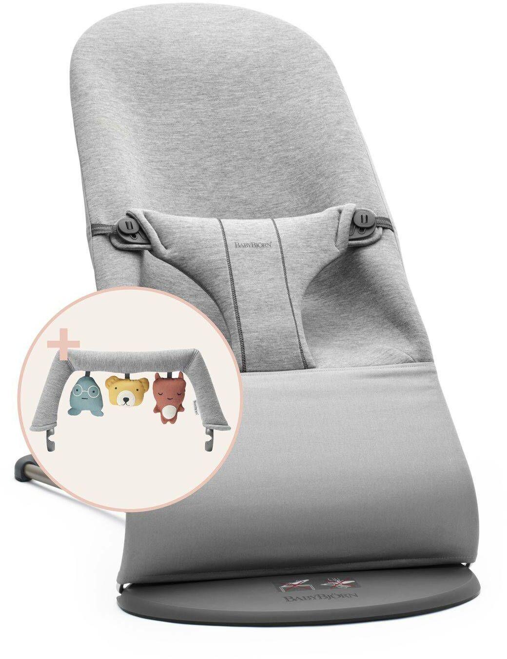 BABYBJORN - leżaczek BLISS 3D Jersey - Jasny Szary + Zabawka BALANCE - Soft Friends