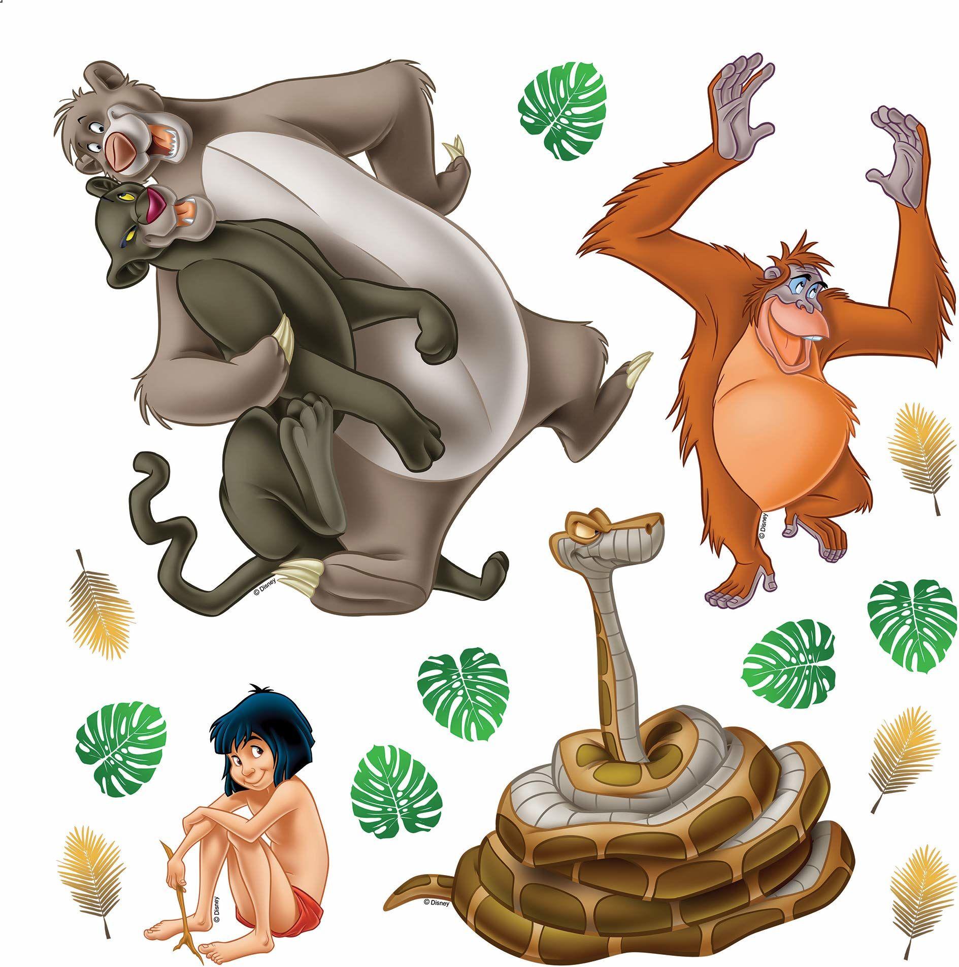 AG Design Disney Księga z dżungli, pokój dziecięcy, naklejka ścienna, folia PVC (ftalate-Free), wielokolorowa, 30 x 30 cm