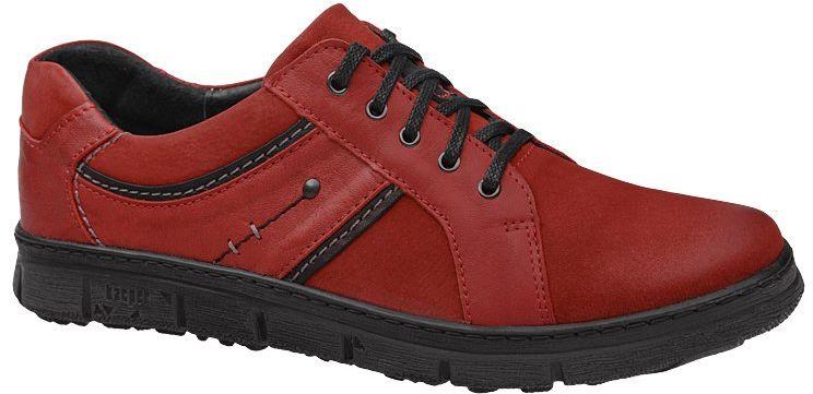 Półbuty KACPER 1-3402-400+102+217 Czerwone sznurowane męskie