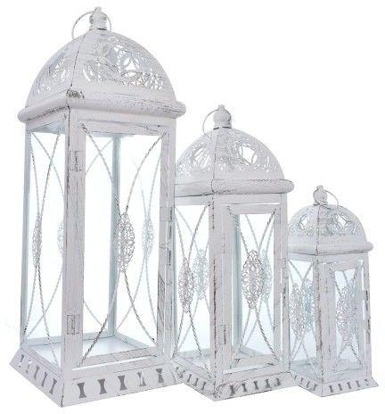 LATARNIA LAMPION METALOWY KOMPLET 3 szt BIAŁY wys 56, 40 i 28 cm