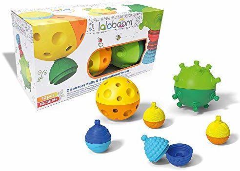Lalaboom - Sensoryczne miękkie piłki - zabawka przedszkolna - Budowa kształtów i kolorów Montessori zabawka do zabawy i nauki dla dzieci od 10 miesięcy do 4 lat - BL900, 12 sztuk