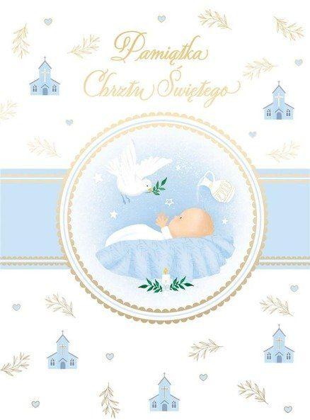 Karnet B6 Chrzest z kieszonką - niebieski