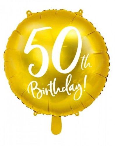 """Balon foliowy 18"""" na 50 urodziny """"50th Birthday"""" złoty"""